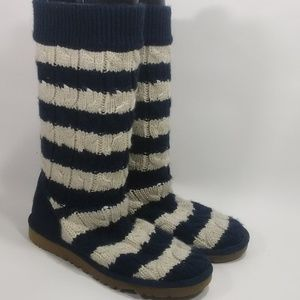 UGG Blue Striped Cable Knit Boots Size 8